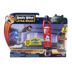 Angry Birds Star Wars Battle Game [Darth Vader's Lightsaber]. The Angry Birds Star Wars app comes to life! This line of Hasbro toys captures all the launching and destroying fun of the app in physical form and features your favorite Star Wars characters re-imagined as high-flying Angry Birds and villainous pigs! Stack, launch, and destroy with the Darth Vaderƒ??s Lightsaber Battle Game, which features 3 characters (one exclusive to the set), a Lightsaber launcher, and signature pieces to…
