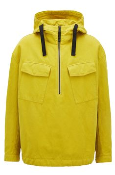 Oversized hooded anorak in a cotton blend -  Yellow  Casual Jackets from BOSS for Men for £319.00 in the official HUGO BOSS Online Store free shipping