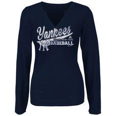 New York Yankees Majestic Women's Locker Room Love Fashion Top - Navy - $26.99