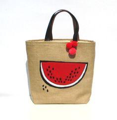 Watermelon slice summer fashion tote bag, handmade ,appliqued jute tote handbag, artistic,embroidered, resort by My Apopsis World , $70.00 USD