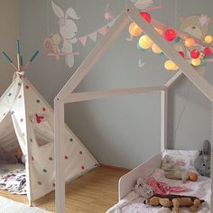 Girl room dots teepee White housebed