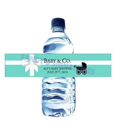 48 Tiffany & Co Inspired Baby Shower Water by SandysSignatures, $18.99