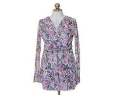 Mimi Maternity Pink Gray Artsy Print Mesh Lined Surplice Blouse Size L #MimiMaternity #Blouse #Casual