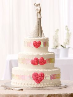 Two pink hearts wedding cake