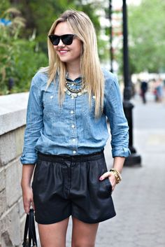 love the easy paring statement necklace black shorts denim shirt