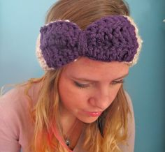 Bow Headband Women's / Girls Hand Crocheted by sunflowersandspice, $15.00
