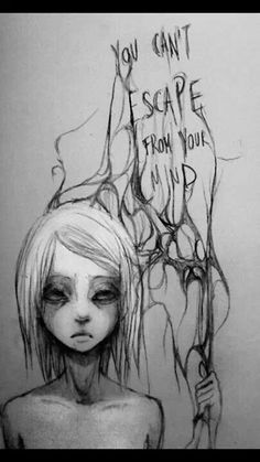 lost death hair girl depressed depression sad suicide lonely quotes anxiety alone Scared die dead anorexia cry ana mia dying done sadness empty darkness loneliness Afraid gone suicidall bolumia the-girl-that-messed-her-life The Dark Side, Art Tumblr, Arte Sketchbook, Arte Horror, My Demons, Inner Demons, Mental Illness, Dark Art, Cool Art
