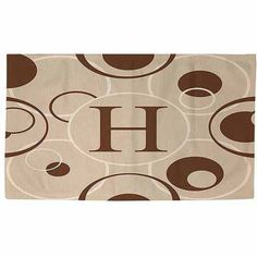Thumbprintz Circle Variations Monogram Neutral Rug, Beige