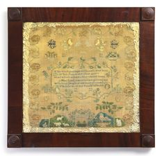 Mary Lewis, Chester Co, PA,1824 - Mary, background untraced, worked this elaborate sampler in 1824, near Williston or Marple in Chester Co., PA, where the majority of these later, non-traditional Quaker embroideries are believed to have originated. The result of a particular schoolteacher's taste, this recognizable design allows  us to attribute at least 4 samplers to her: Ann H. Vodges  1823; Alice Maris (c. 1824); Hannah W. Haws (c. 1824); and a U/I daughter of Josiah and Mary Fawkes.
