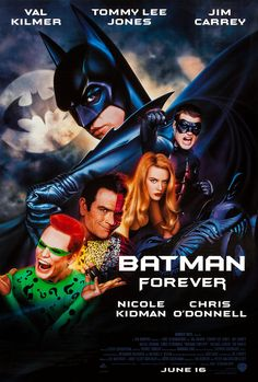 Purchase this 1995 LaserDisc release of Batman Forever, starring Val Kilmer, Tommy Lee Jones, Jim Carey, Nicole Kidman and Chris O'Donnell. Browse our selection of other films on LaserDisc at Voluptuous Vinyl Records! 1995 Movies, Dc Movies, Good Movies, Movie Tv, Family Movies, Quad, Pat Hingle, Forever Movie, Bob Kane