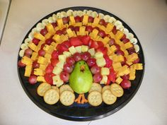 cheese turkey platter.  I added summer sausage/pepperoni and garnished with lettuce!