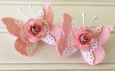 Articoli simili a Shabby Pink Handmade Paper Rose Flower Lace Pink Butterfly Embellishments Set of 2 su Etsy Butterfly Crafts, Flower Crafts, Pink Butterfly, Butterfly Mobile, Butterfly Design, Paper Flowers Craft, Paper Crafts Origami, Paper Rosettes, Paper Doilies
