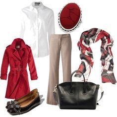 Outfit color scheme - Khaki, Red, Black, White