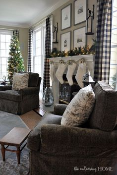Pottery Barn Lanterns hanging above fireplace. Christmas in the Family Room 2015 - The Endearing Home Farmhouse Curtains, Rustic Curtains, Pottery Barn Curtains, Plaid Curtains, Roman Curtains, Patterned Curtains, French Curtains, Pink Curtains, Ikea Curtains