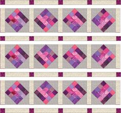 Assemble rows with quilt blocks, sashing and cornerstones.