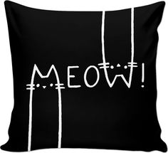 MEOW! Black and white throw pillow, funny vector cats, animals themed couch pillow design - for more art and design be sure to visit www.casemiroarts.com, item printed by RageOn at www.rageon.com/a/users/casemiroarts - also available at www.casemiroarts.com #bedroom #home #decor #pillow #cushion #pillowcases