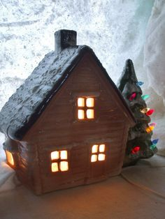 Ceramic Lighted House Christmas Tree Vintage 11 by MissingHeirloom, $72.00 Christmas Home, Christmas Lights, Clapboard Siding, Tree Saw, House Lamp, Ceramic Light, Ceramic Christmas Trees, Ceramic Houses, Votive Candles