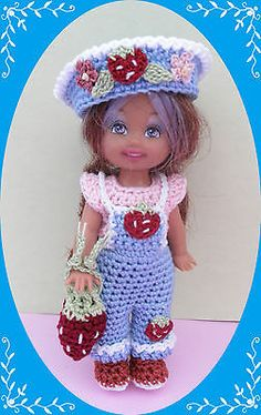 Crochet-Doll-Clothes-Strawberry-Bibs-Outfit-for-4-Kelly-same-sized-dolls