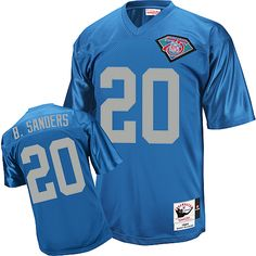 Mitchell and Ness Detroit Lions #20 Barry Sanders Blue with 75 Anniversary Patch Replica Jersey $69.99