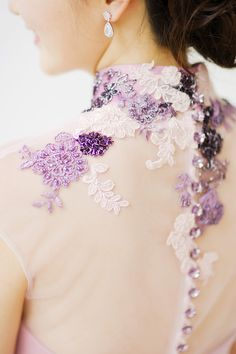 Lilac embroidered cheongsam wedding dress with illusion back // Against All Odds: Shawn and Marilyn's Love Story and Wedding Which Fills Us with Hope