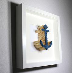 3D Bild Streichholzkunst, Matchstickart Anker blau von Bellyys - Handgefertigte Liebe - Bestseller - Design Unikate - Genähtes und mehr... Für klein und gross! auf DaWanda.com