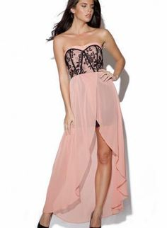 peach high low formal dress