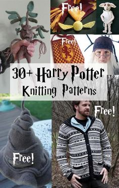 Harry Potter inspired Knitting Patterns, many free knitting patterns Tricot Harry Potter, Harry Potter Socks, Harry Potter Crochet, Theme Harry Potter, Halloween Knitting Patterns, Knitting Patterns Free, Knit Patterns, Free Knitting, Baby Knitting