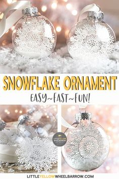 Take a look at this simple clear ornament idea that takes no time at all to put together. These snowflake ornaments are a perfect Christmas craft to make with the kids. These pretty snowflake ornaments add a touch of vintage charm to any Christmas tree. Christmas Balls Diy, Diy Christmas Fireplace, Diy Christmas Snowflakes, Clear Christmas Ornaments, Handmade Christmas Crafts, Snowflake Decorations, Christmas Ornaments To Make, Snowflake Ornaments, Diy Ornaments
