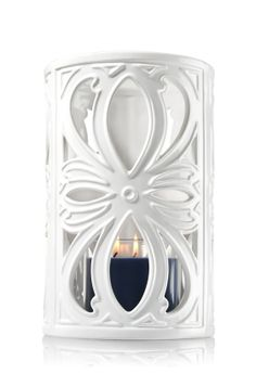 Ceramic Open Flower - 3-Wick Candle Luminary - Bath & Body Works - Beautiful and versatile, this white ceramic luminary adds a charming touch to your d�cor. Fill with your favorite 3-Wick Candle for a warm glow.