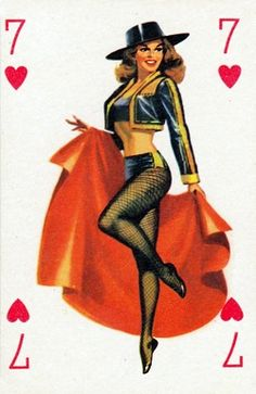 Pin Up Playing Card - Seven of Hearts by cigcardpix, Vintage Pins, Vintage Art, Vintage Ladies, Pinup Art, Rockabilly, Vargas Girls, Pin Up Illustration, Vintage Playing Cards, Calendar Girls