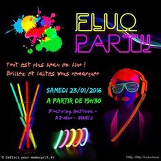 Soirée d'anniversaire fluo party flyer
