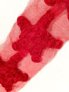 "Red 2"" shabby chiffon star rose trim 4th of July"