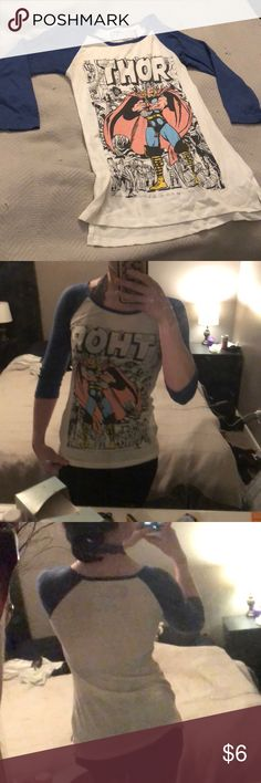 Marvel Thor baseball tee. Marvel Thor baseball tee. Super soft and comfy, but it is a bit see through. Size Small/2-4. Only worn a few times. No tears or stains. Great quality. Marvel Tops Tees - Long Sleeve