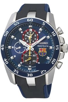 men watches | Mens top watch SEIKO SPC089P2 Men's Sportura,Alarm Chronograph,FC Barcelona,Blue Dial,Silicone Strap,Sapphire Crystal,100m WR,SPC089P2