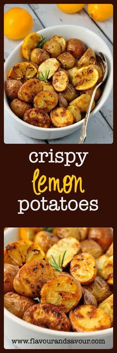 Crispy Lemon Oven-Roasted Potatoes. Crispy outside, tender inside and super easy! www.flavourandsavour.com