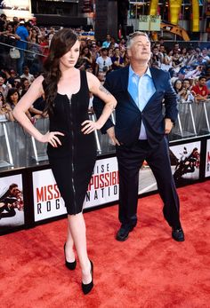 """Alec Baldwin and daughter Ireland Baldwin attend the """"Mission Impossible - Rogue Nation"""" New York Premiere at Duffy Square in Times Square on July 2015 in New York City. Alec Baldwin, Baldwin Family, Cute Celebrities, Celebs, Mission Impossible Rogue, Rogue Nation, Ireland Baldwin, Star Track, Red Carpet"""