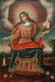 Unsigned painting from Peru (I believe it is the Virgin Mary, based on the crown of stars. ~ Cynthia)