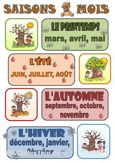 French seasons & months graphic - Les saisons et les mois French Language Lessons, French Language Learning, French Lessons, Spanish Lessons, Spanish Language, French Flashcards, French Worksheets, French Teaching Resources, Teaching French