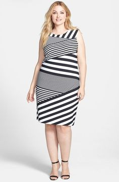 Calvin Klein Asymmetric Stripe Matte Jersey Sheath Dress (Plus Size) | Nordstrom