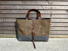 Waxed canvas bag/ carry all with  leather handles and double waxed canvas bottom COLLECTION UNISEX