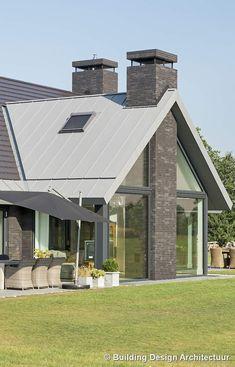 Building Design Architectuur Cottage Extension, House Extension Design, House Design, Amazing Buildings, Modern Buildings, Modern Architecture, Stone Cladding Texture, Modern Glass House, Architect House