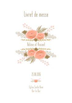un livret de messe mariage sur le thme des fleurs dans les tons roses avec du - Modle Livret De Messe Mariage Gratuit
