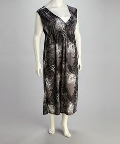 Take a look at this Black Leopard Plus-Size Sleeveless Maxi Dress by Atop Apparel on #zulily today!