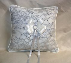 Silver Lace Ring Pillow w/Crystal