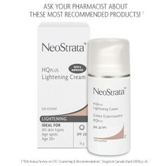 Neostrata HQPlus Lightning Cream +20 SPF. Gradually lightens skin spots due to excessive sun exposure, freckles, age and liver spots that may occur during pregnancy. It exfoliates and it ideal for all skin types.