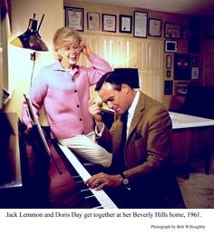 Jack Lemmon with Doris Day at her Beverly Hills home, 1961.