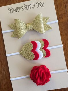 gold red white felt headbands, baby girl headband, baby hair bows