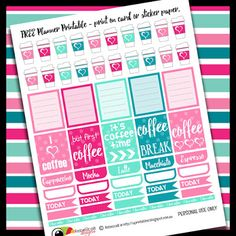 FREE Printable Planner Stickers - Coffee. Print these planner elements onto sticker paper or card stock and carefully cut out with scissors.