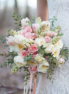 pink and cream rose and tulip bouquet.