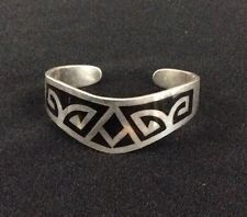 Vintage Mexico Sterling Silver Cuff Bracelet Taxco 925 w/Black Inlay